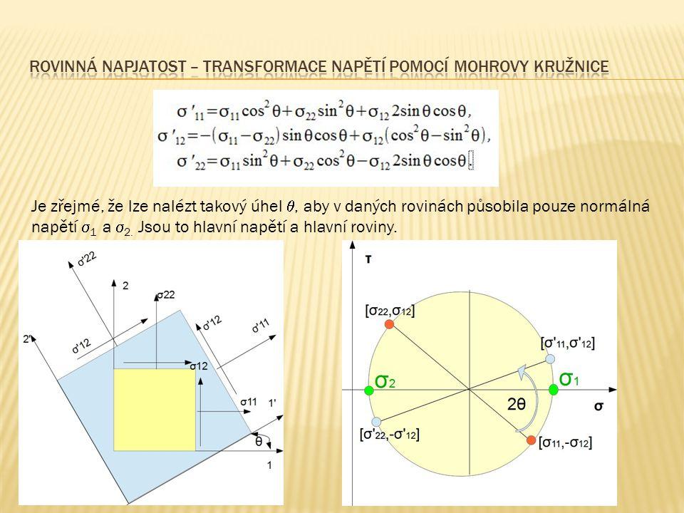  Hlavní napětí a hlavní směry můžeme snadno určit pomocí Mohrovy kružnice  Velikost hlavních napětí bude dána souřadnicí  středu kružnice (je rovna průměru hodnot  x a  y ), ke které přičteme/odečteme poloměr kružnice  Hlavní směry vypočteme z červeného trojúhelníka