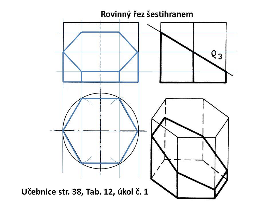 Rovinný řez šestihranem Učebnice str. 38, Tab. 12, úkol č. 1