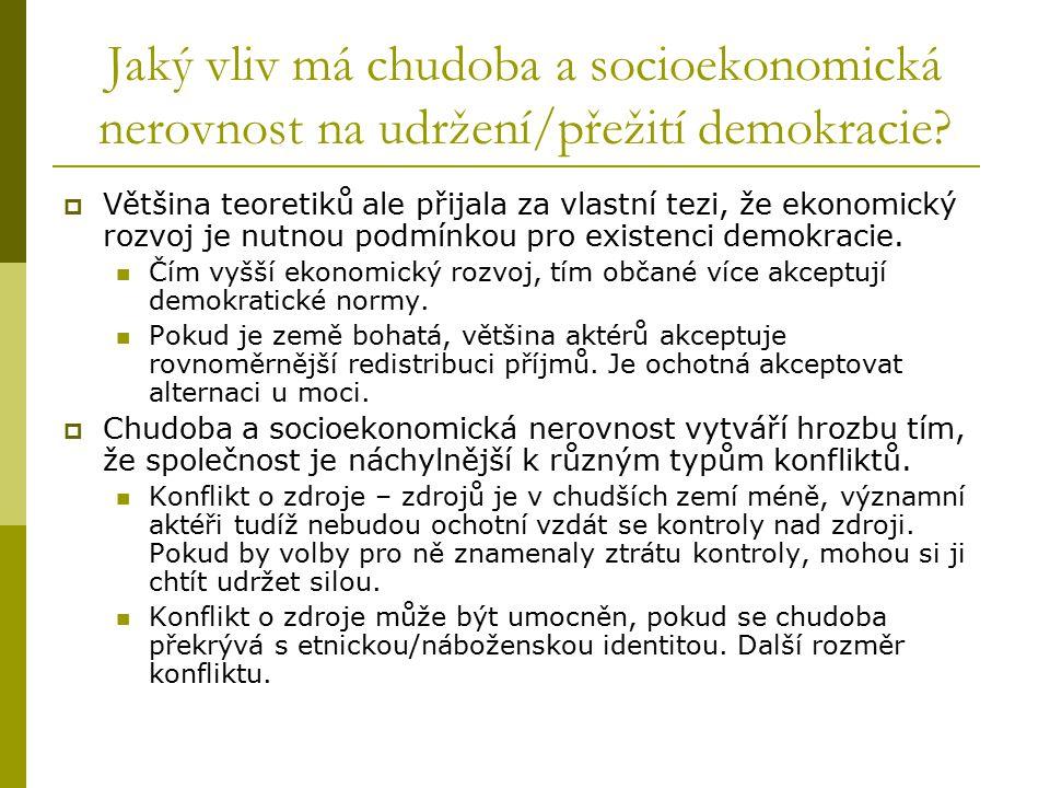 Jaký vliv má chudoba a socioekonomická nerovnost na udržení/přežití demokracie?  Většina teoretiků ale přijala za vlastní tezi, že ekonomický rozvoj