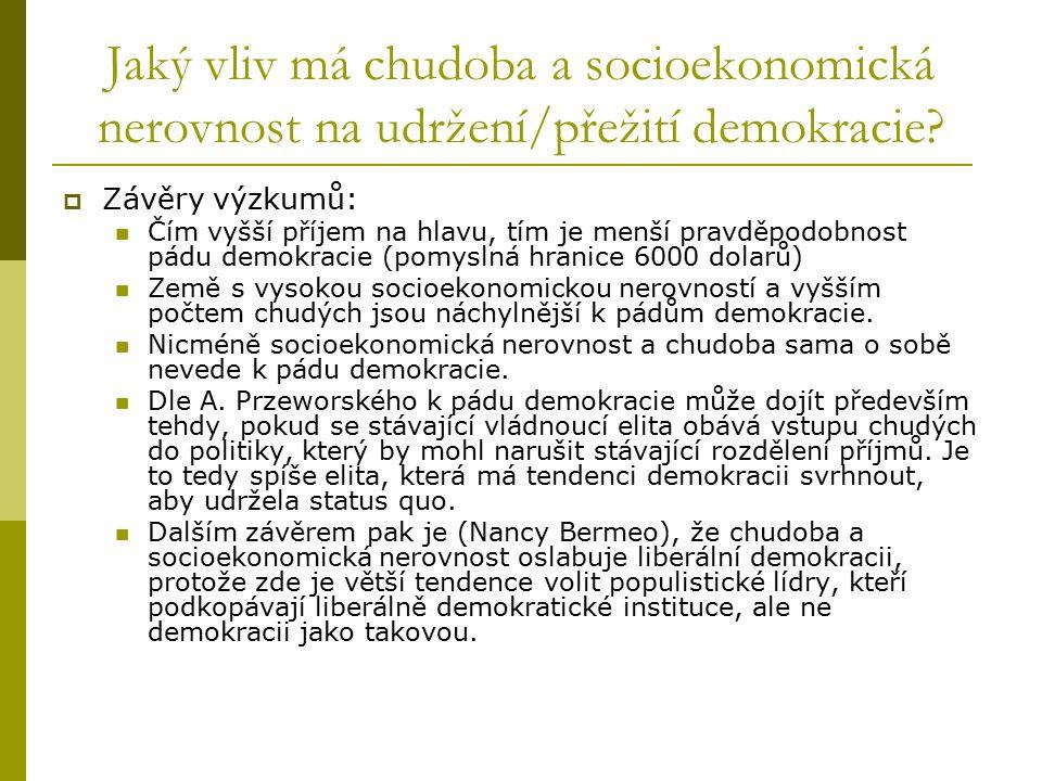 Jaký vliv má chudoba a socioekonomická nerovnost na udržení/přežití demokracie?  Závěry výzkumů: Čím vyšší příjem na hlavu, tím je menší pravděpodobn