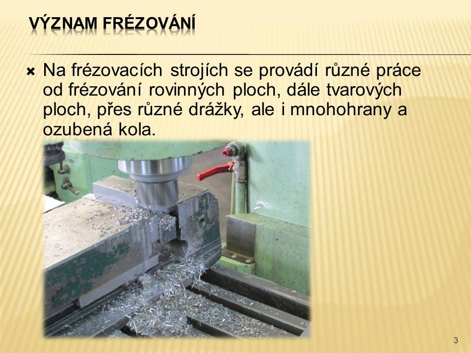  Na frézovacích strojích se provádí různé práce od frézování rovinných ploch, dále tvarových ploch, přes různé drážky, ale i mnohohrany a ozubená kol