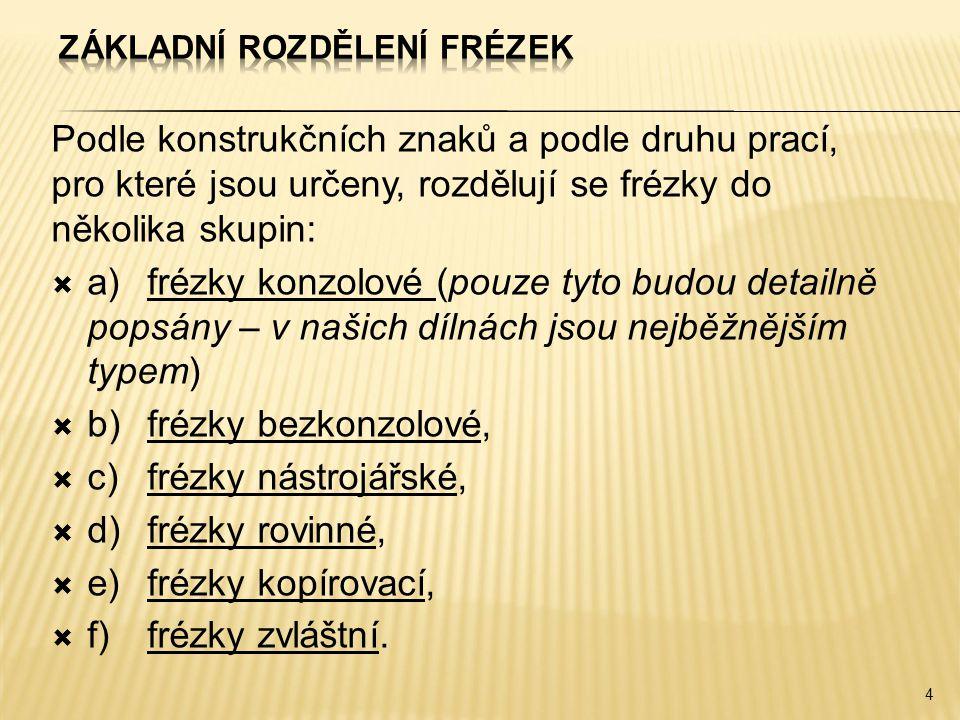  Frézky konzolové jsou nejrozšířenějším typem frézek (jsou určeny pro běžné frézovací práce).