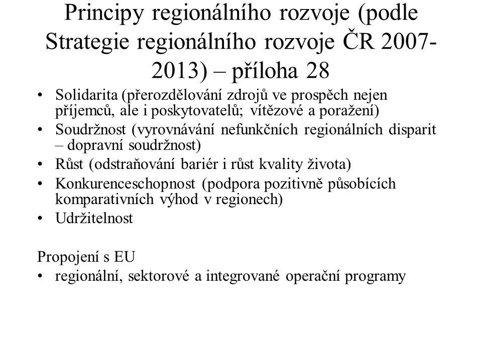 Principy regionálního rozvoje (podle Strategie regionálního rozvoje ČR 2007- 2013) – příloha 28 Solidarita (přerozdělování zdrojů ve prospěch nejen př