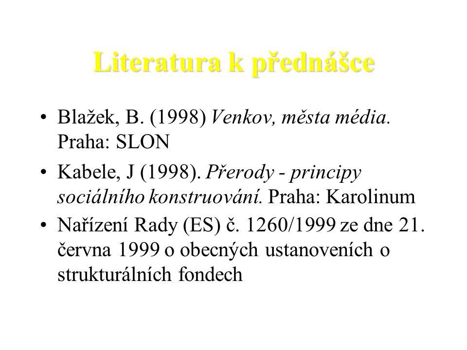 Literatura k přednášce Blažek, B. (1998) Venkov, města média. Praha: SLON Kabele, J (1998). Přerody - principy sociálního konstruování. Praha: Karolin