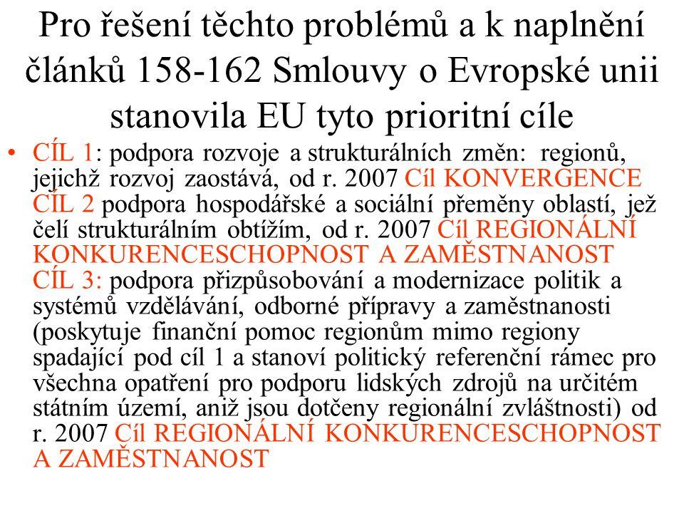 Pro řešení těchto problémů a k naplnění článků 158-162 Smlouvy o Evropské unii stanovila EU tyto prioritní cíle CÍL 1: podpora rozvoje a strukturálníc