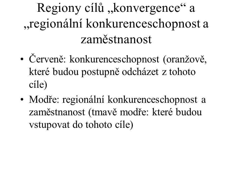 """Regiony cílů """"konvergence"""" a """"regionální konkurenceschopnost a zaměstnanost Červeně: konkurenceschopnost (oranžově, které budou postupně odcházet z to"""