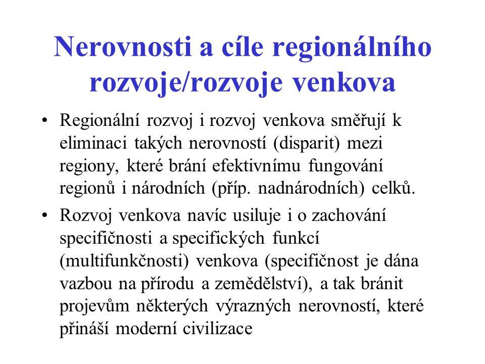 Nerovnosti a cíle regionálního rozvoje/rozvoje venkova Regionální rozvoj i rozvoj venkova směřují k eliminaci takých nerovností (disparit) mezi region
