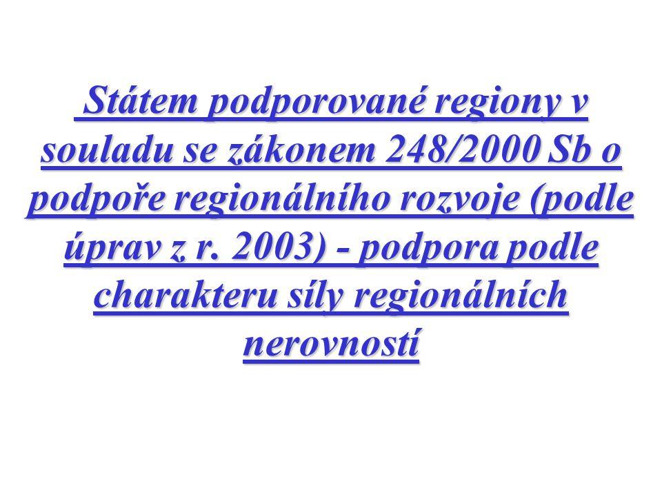 Státem podporované regiony v souladu se zákonem 248/2000 Sb o podpoře regionálního rozvoje (podle úprav z r. 2003) - podpora podle charakteru síly reg