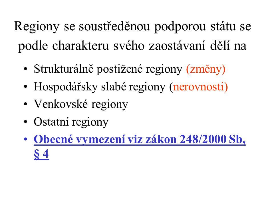 Regiony se soustředěnou podporou státu se podle charakteru svého zaostávaní dělí na Strukturálně postižené regiony (změny) Hospodářsky slabé regiony (