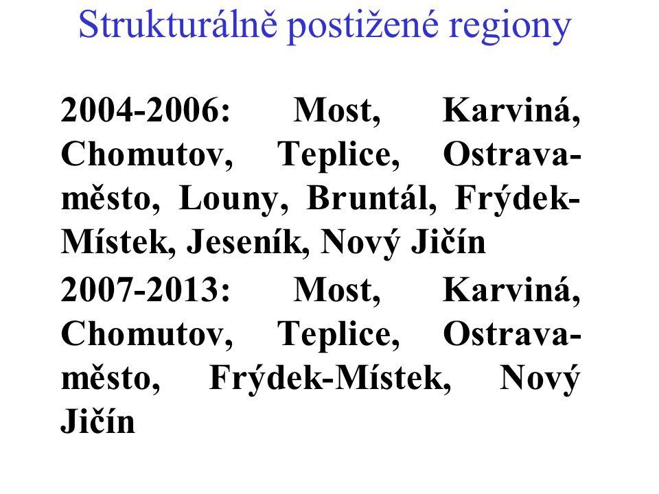 Strukturálně postižené regiony 2004-2006: Most, Karviná, Chomutov, Teplice, Ostrava- město, Louny, Bruntál, Frýdek- Místek, Jeseník, Nový Jičín 2007-2