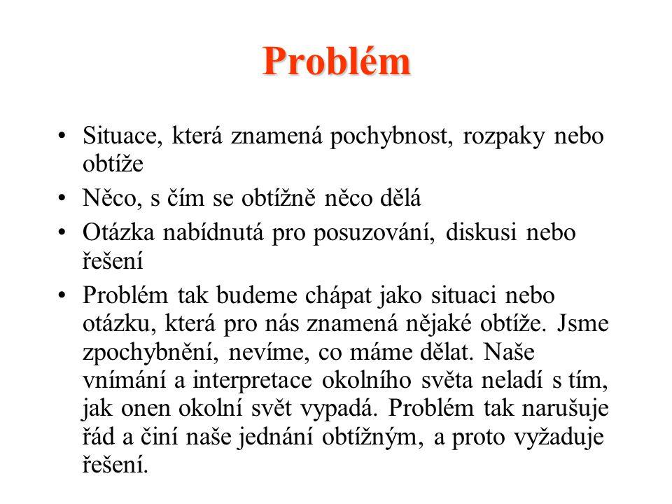 Vzhledem k tomu, že problém pro nás znamená situaci nejasnosti, je potřebné ho především (1) identifikovat, pak (2) prodiskutovat a (3) následně řešit (tedy i technickému řešení předchází identifikace a diskuse problémů).