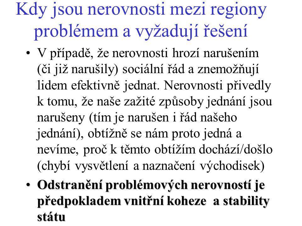 Problémová území (problémové regiony) podle EU Důvod problémů: ZMĚNA: Charakteristika (určení): Regiony, čelící strukturálním obtížím, jejichž hospodářská a sociální přeměna a jejichž obyvatelstvo nebo plocha jsou dostatečně významné (zejména oblasti, procházející socio- ekonomickými změnami v oblasti průmyslu a služeb, upadající venkovské oblasti, městské oblasti v obtížích a krizí postižené oblasti závislé na rybolovu).