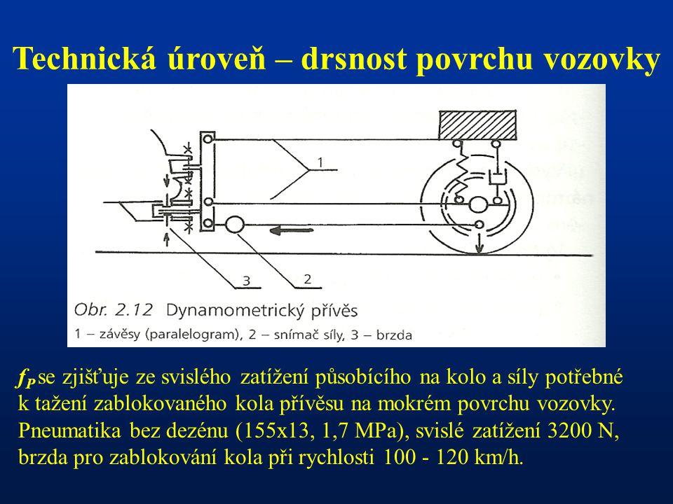 Technická úroveň – drsnost povrchu vozovky f P se zjišťuje ze svislého zatížení působícího na kolo a síly potřebné k tažení zablokovaného kola přívěsu