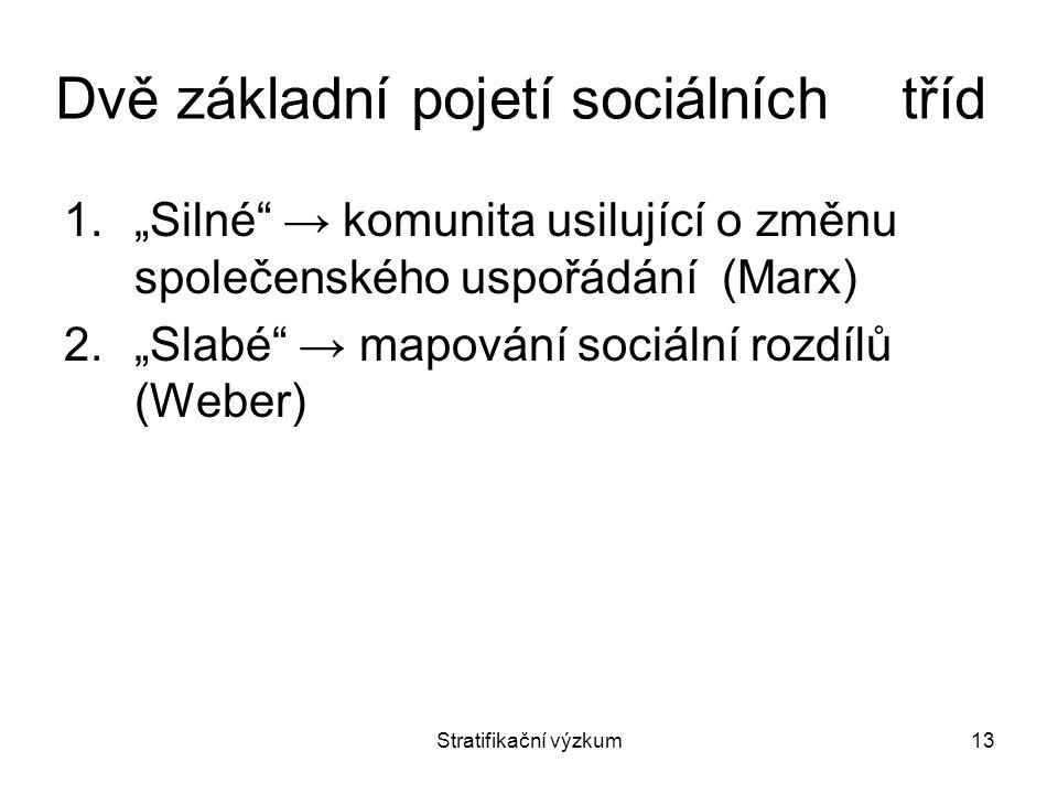 """Stratifikační výzkum13 Dvě základní pojetí sociálních tříd 1.""""Silné"""" → komunita usilující o změnu společenského uspořádání (Marx) 2.""""Slabé"""" → mapování"""