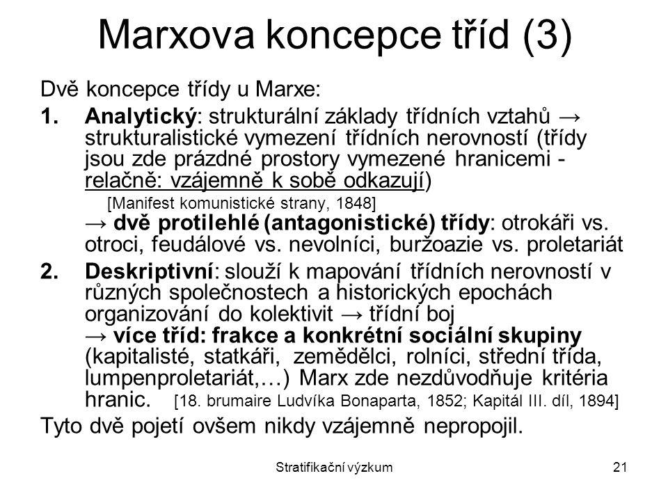Stratifikační výzkum21 Marxova koncepce tříd (3) Dvě koncepce třídy u Marxe: 1.Analytický: strukturální základy třídních vztahů → strukturalistické vy