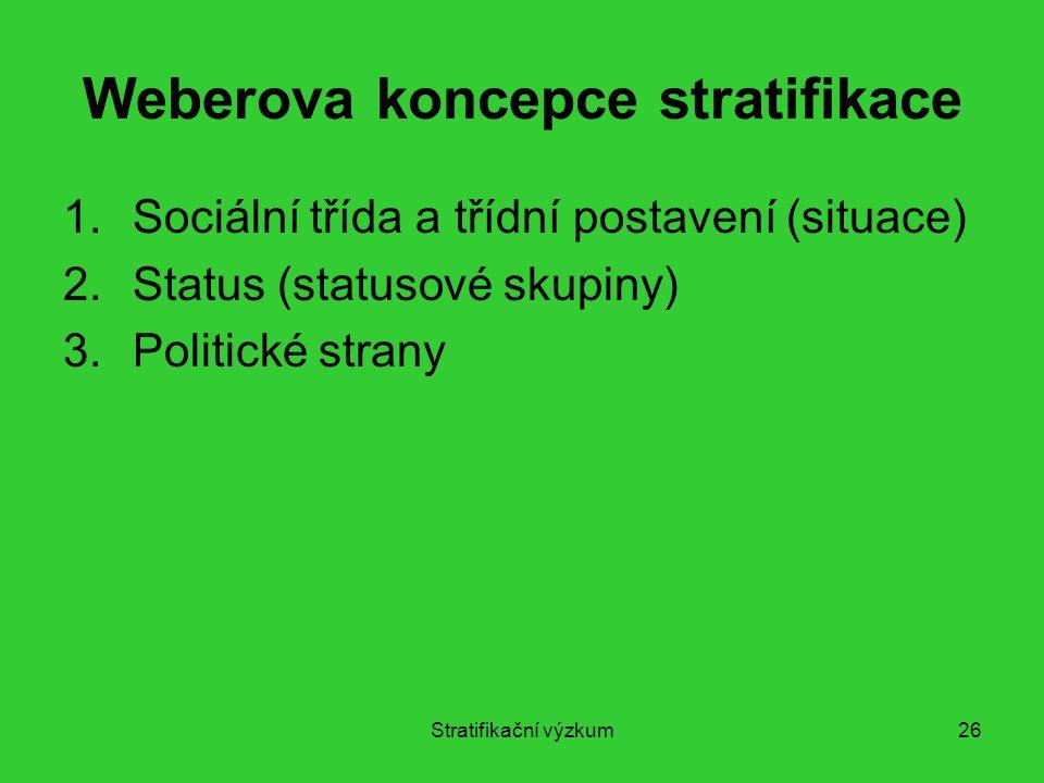 Stratifikační výzkum26 Weberova koncepce stratifikace 1.Sociální třída a třídní postavení (situace) 2.Status (statusové skupiny) 3.Politické strany