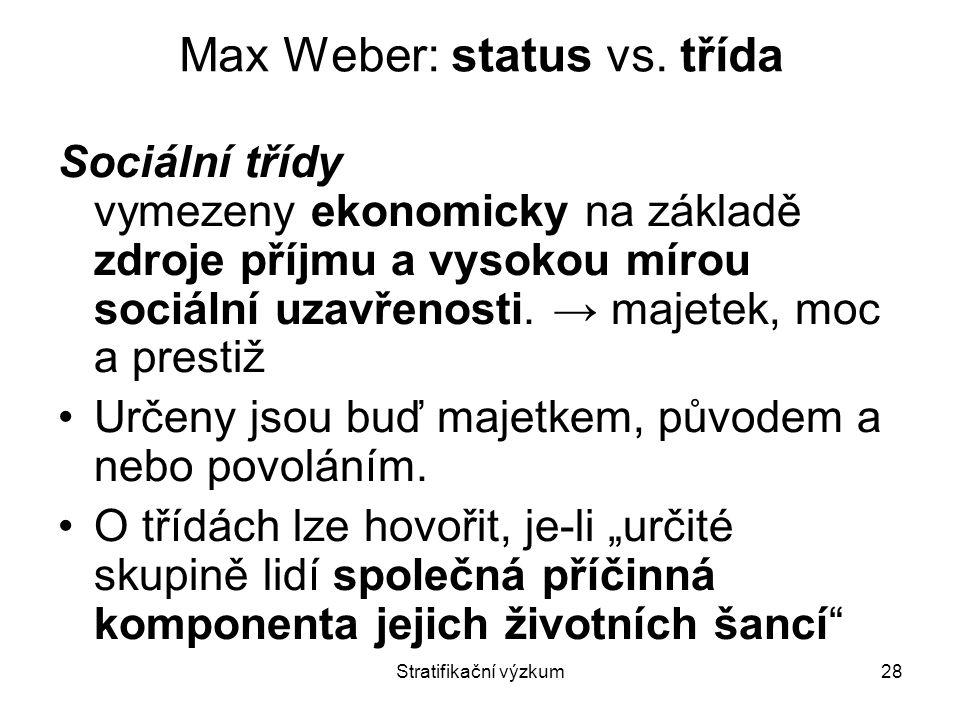 Stratifikační výzkum28 Max Weber: status vs. třída Sociální třídy vymezeny ekonomicky na základě zdroje příjmu a vysokou mírou sociální uzavřenosti. →