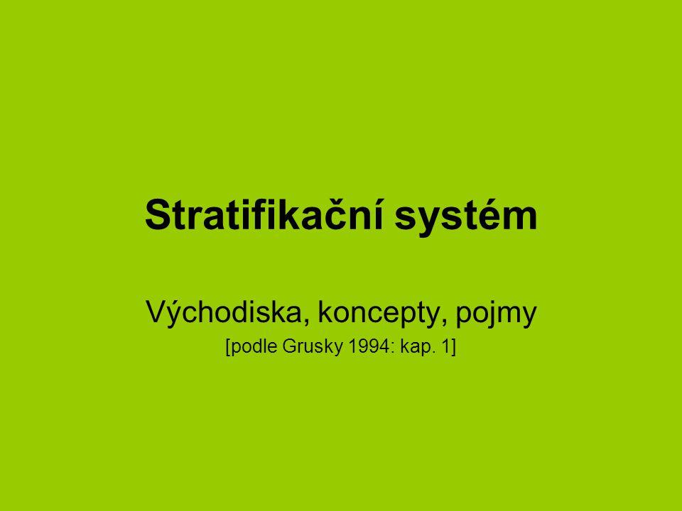 Stratifikační systém Východiska, koncepty, pojmy [podle Grusky 1994: kap. 1]