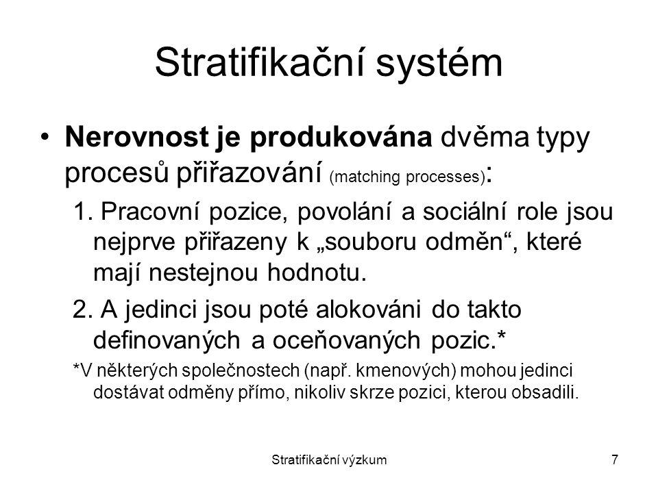 Stratifikační výzkum7 Stratifikační systém Nerovnost je produkována dvěma typy procesů přiřazování (matching processes) : 1. Pracovní pozice, povolání