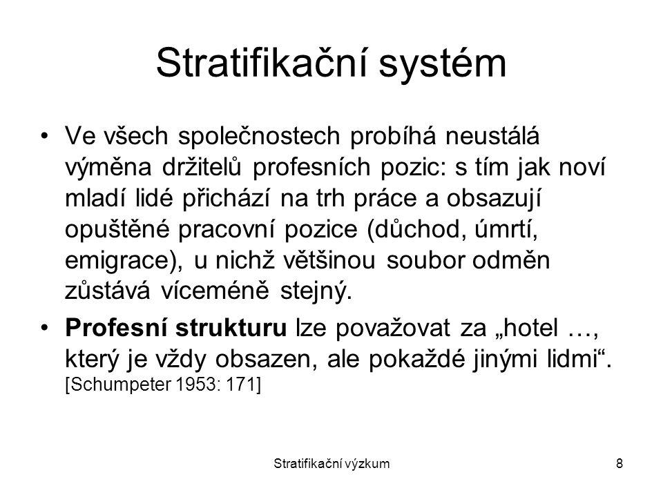 Stratifikační výzkum9 Stratifikační systém Obsah souborů odměn se v moderních společnostech sice může lišit, ale v zásadě je podobný.
