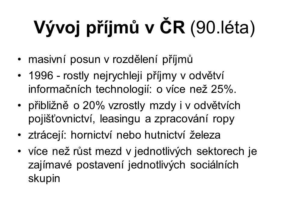 Vývoj příjmů v ČR (90.léta) masivní posun v rozdělení příjmů 1996 - rostly nejrychleji příjmy v odvětví informačních technologií: o více než 25%. přib