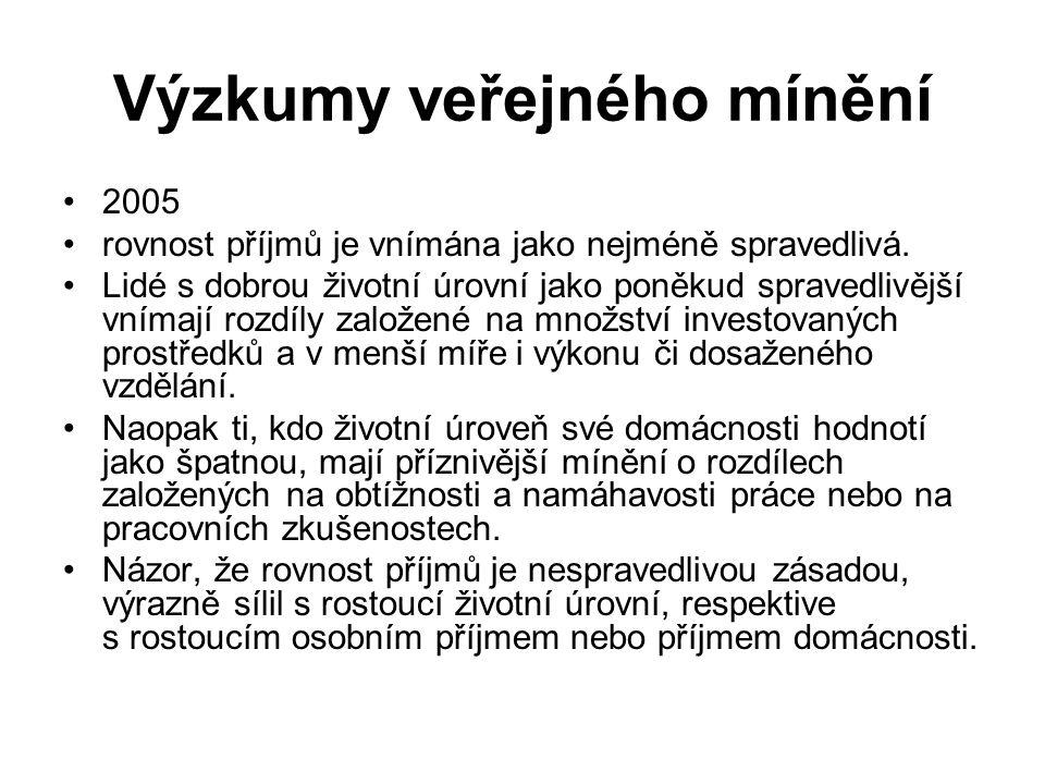 Je nárůst diferenciace příjmů v ČR je prospěšný či nežádoucí.