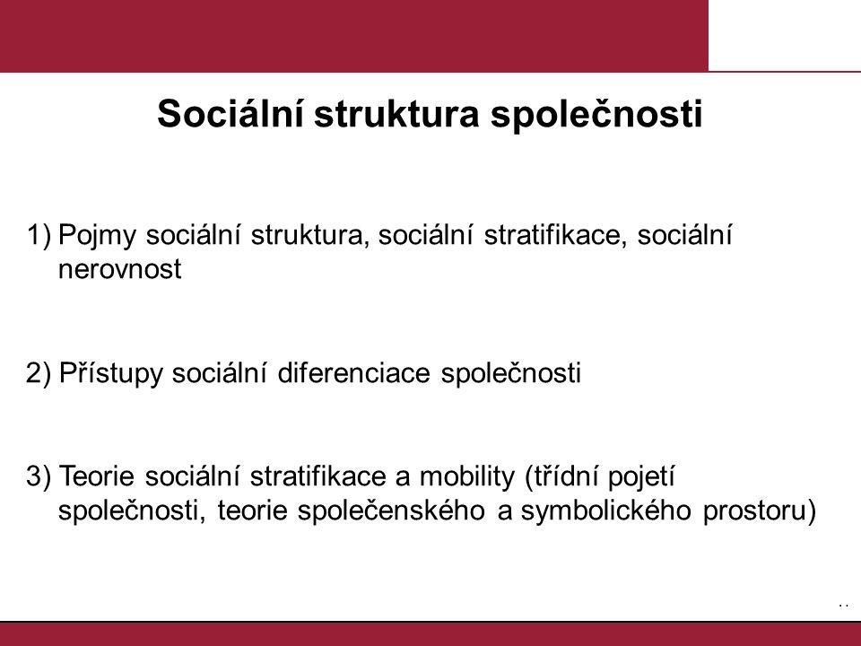 1.1. Sociální struktura společnosti 1)Pojmy sociální struktura, sociální stratifikace, sociální nerovnost 2) Přístupy sociální diferenciace společnost
