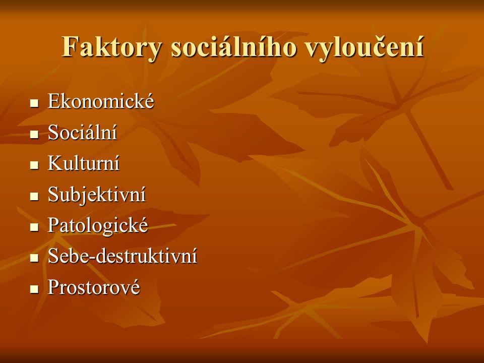 Faktory sociálního vyloučení Ekonomické Ekonomické Sociální Sociální Kulturní Kulturní Subjektivní Subjektivní Patologické Patologické Sebe-destruktiv