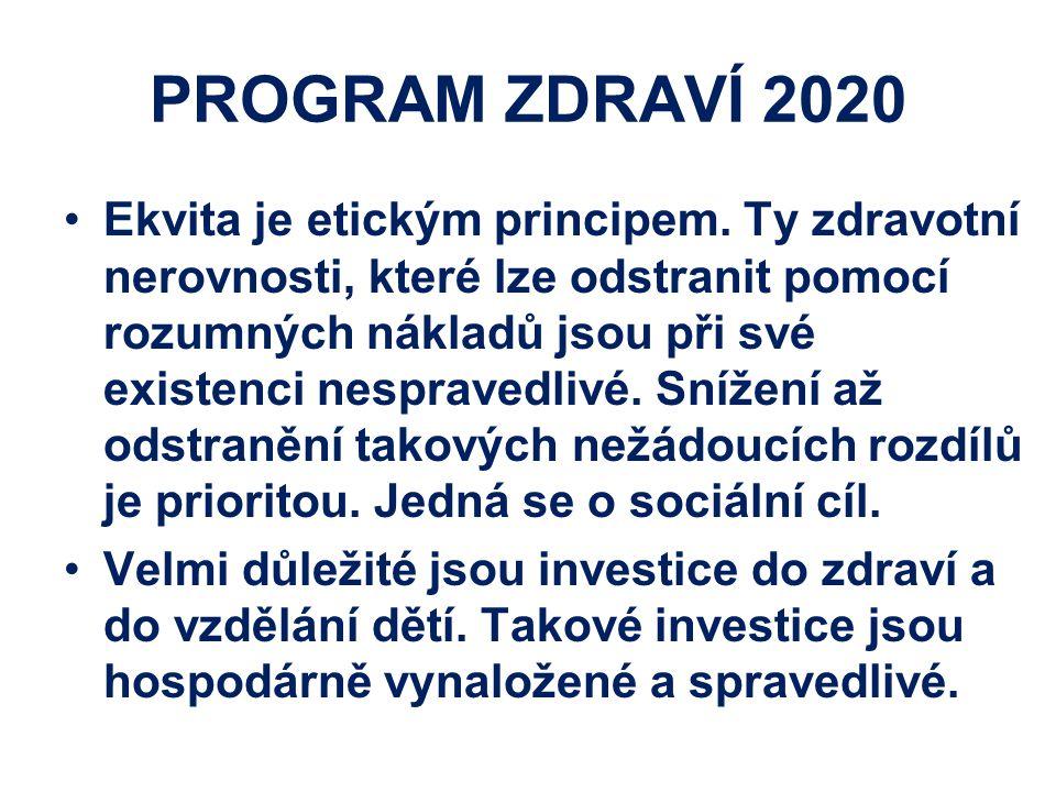 PROGRAM ZDRAVÍ 2020 Ekvita je etickým principem. Ty zdravotní nerovnosti, které lze odstranit pomocí rozumných nákladů jsou při své existenci nesprave