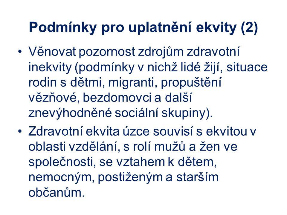 Podmínky pro uplatnění ekvity (2) Věnovat pozornost zdrojům zdravotní inekvity (podmínky v nichž lidé žijí, situace rodin s dětmi, migranti, propuštěn