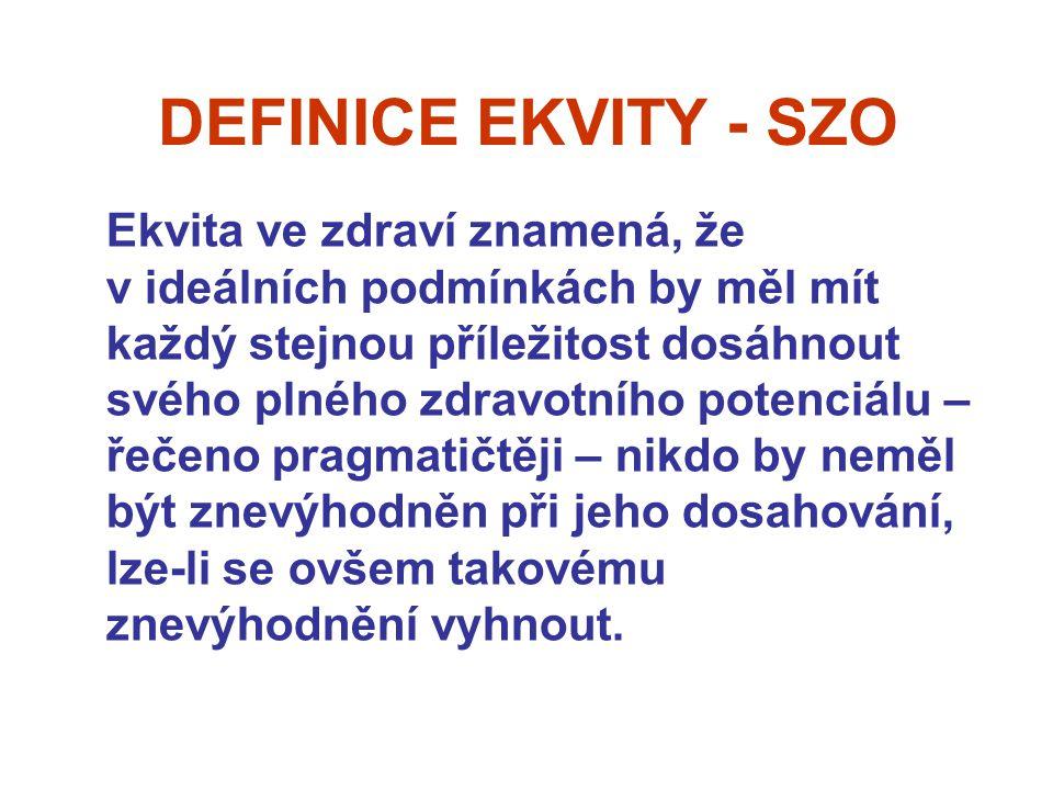 DEFINICE EKVITY - SZO Ekvita ve zdraví znamená, že v ideálních podmínkách by měl mít každý stejnou příležitost dosáhnout svého plného zdravotního potenciálu – řečeno pragmatičtěji – nikdo by neměl být znevýhodněn při jeho dosahování, lze-li se ovšem takovému znevýhodnění vyhnout.