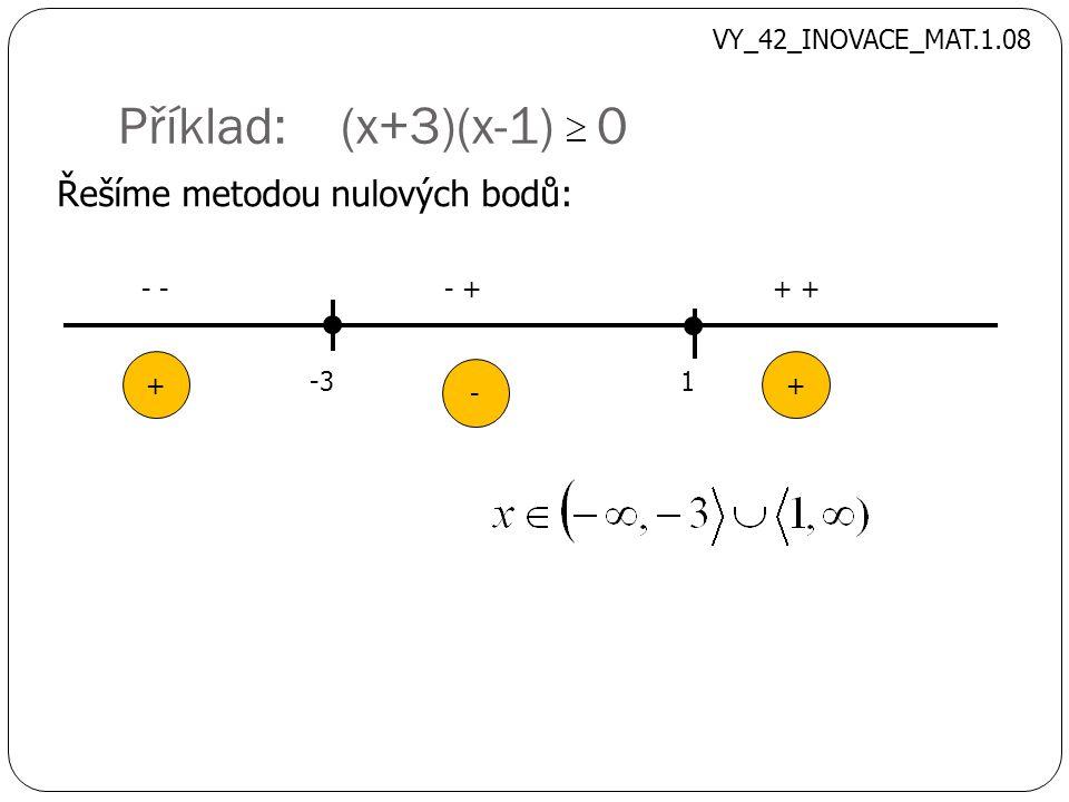 Příklad: (x+3)(x-1) 0 Řešíme metodou nulových bodů: -31 - - ++ + - + VY_42_INOVACE_MAT.1.08