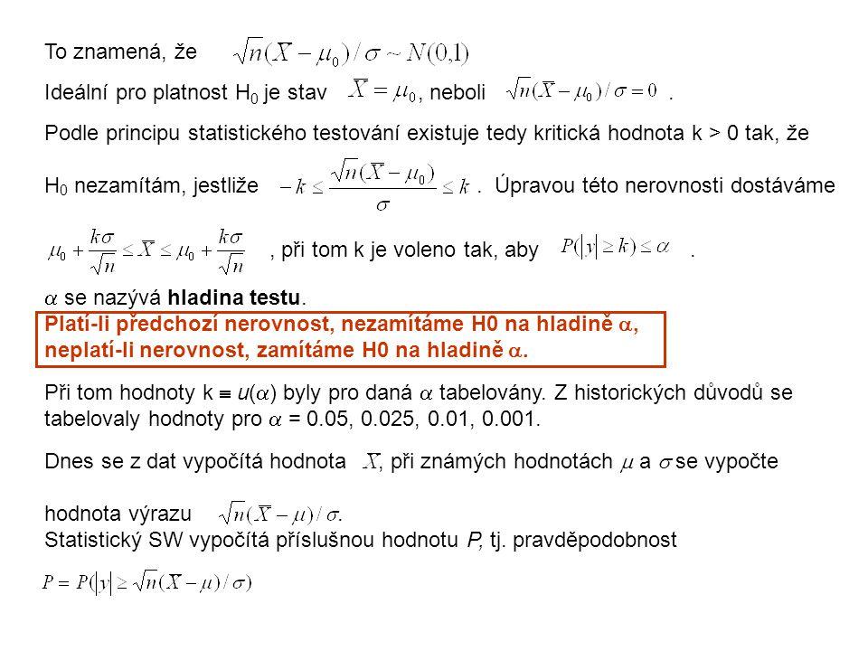 To znamená, že Ideální pro platnost H 0 je stav, neboli. Podle principu statistického testování existuje tedy kritická hodnota k > 0 tak, že H 0 nezam