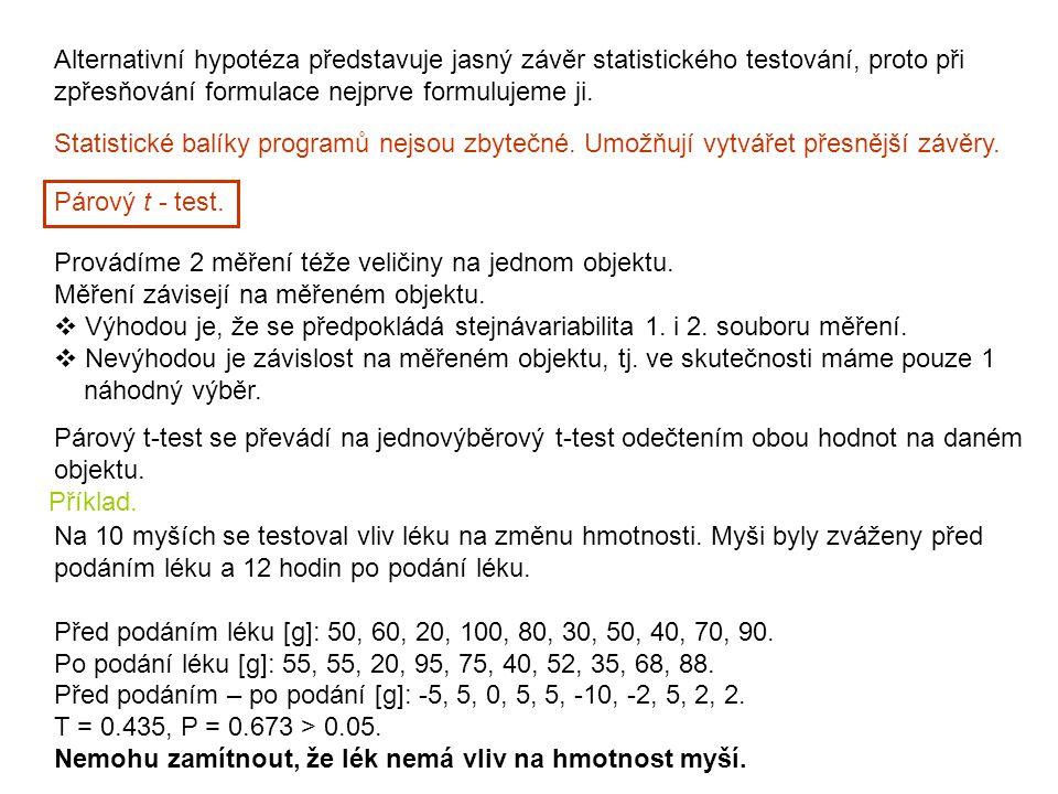 Statistické balíky programů nejsou zbytečné. Umožňují vytvářet přesnější závěry. Alternativní hypotéza představuje jasný závěr statistického testování