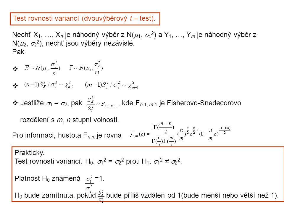 Test rovnosti variancí (dvouvýběrový t – test). Nechť X 1, …, X n je náhodný výběr z N(  1,   2 ) a Y 1, …, Y m je náhodný výběr z N(  2,   2 ),
