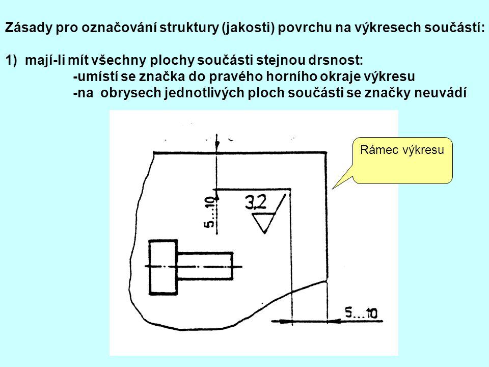 Zásady pro označování struktury (jakosti) povrchu na výkresech součástí: 1) mají-li mít všechny plochy součásti stejnou drsnost: -umístí se značka do