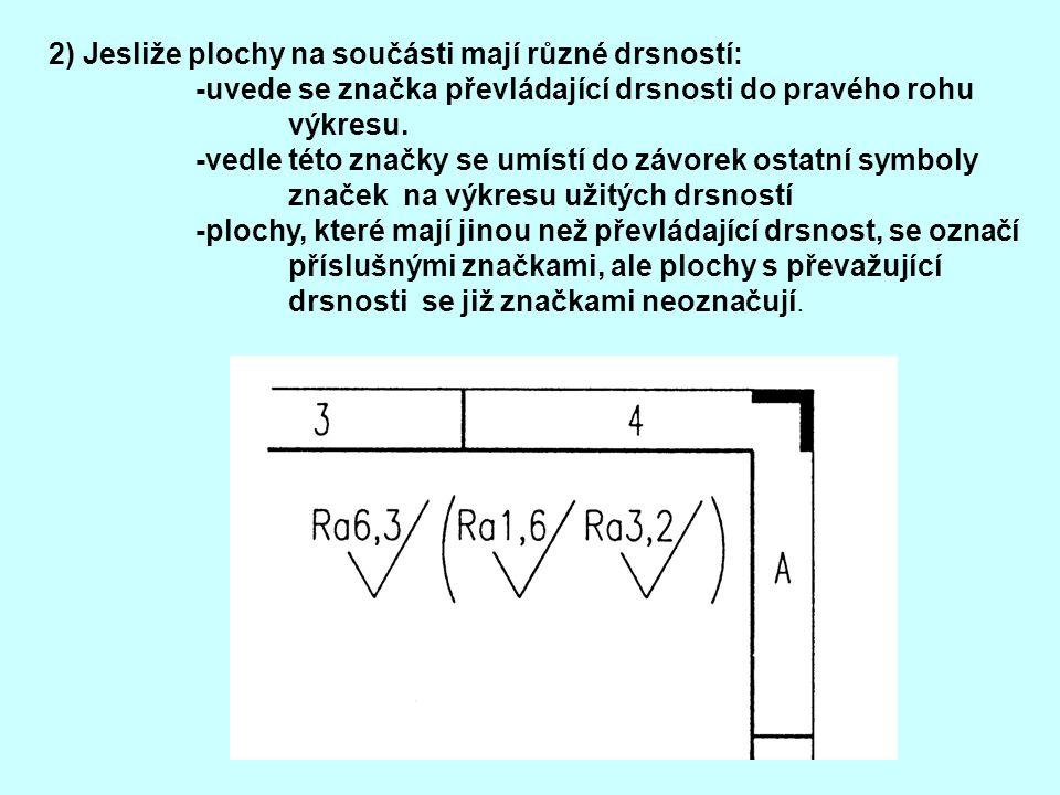 2) Jesliže plochy na součásti mají různé drsností: -uvede se značka převládající drsnosti do pravého rohu výkresu. -vedle této značky se umístí do záv