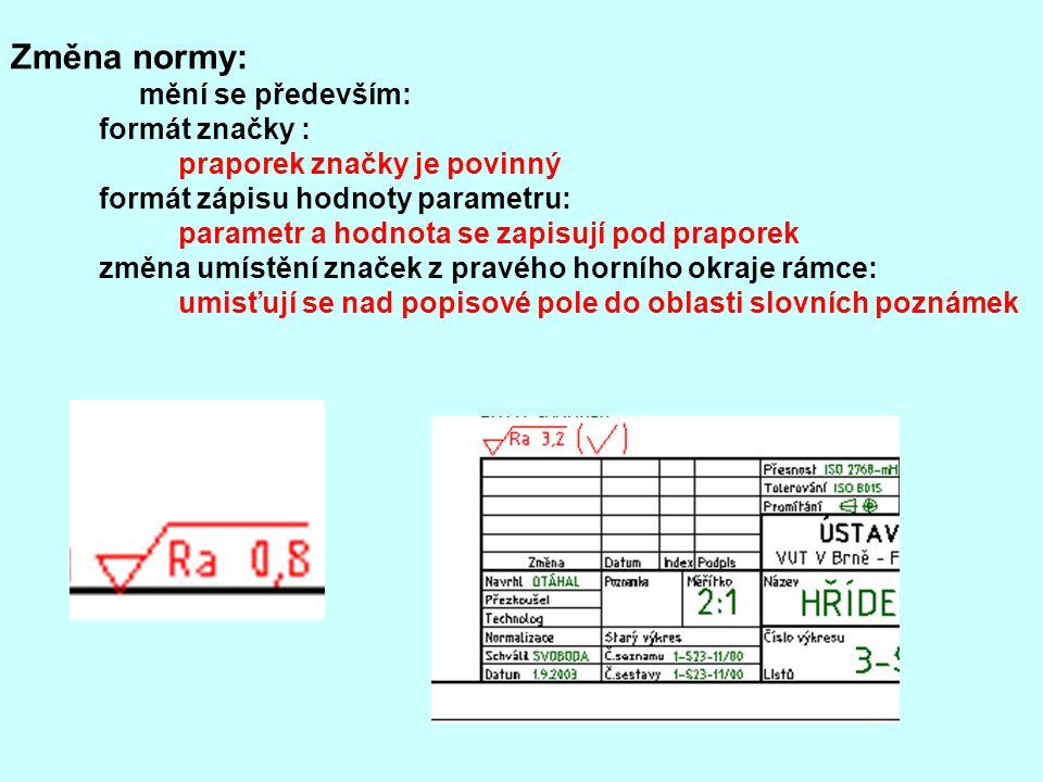 Změna normy: mění se především: formát značky : praporek značky je povinný formát zápisu hodnoty parametru: parametr a hodnota se zapisují pod prapore