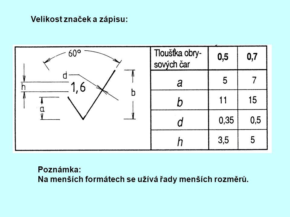Velikost značek a zápisu: Poznámka: Na menších formátech se užívá řady menších rozměrů.