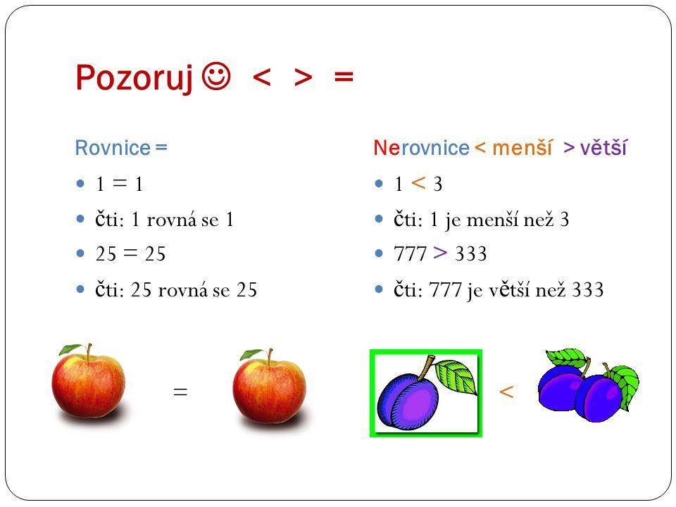 Pozoruj = Rovnice =Nerovnice větší 1 = 1 č ti: 1 rovná se 1 25 = 25 č ti: 25 rovná se 25 = 1 < 3 čti: 1 je menší než 3 777 > 333 čti: 777 je větší než 333 <