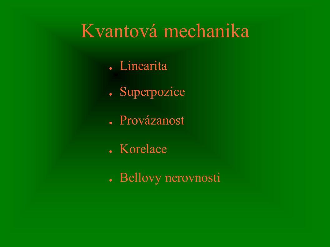 Kvantová mechanika ● Linearita ● Superpozice ● Provázanost ● Korelace ● Bellovy nerovnosti