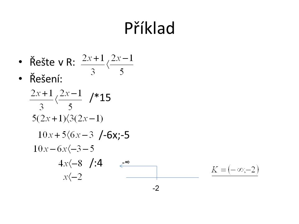 Příklad Řešte v R: Řešení: /*15 /-6x;-5 /:4 -2 -∞