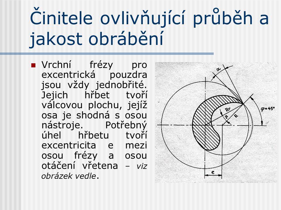 Činitele ovlivňující průběh a jakost obrábění Vrchní frézy jsou stopkové frézy malých průměrů a nejrůznějších tvarů s jedním nebo více břity na čelníc