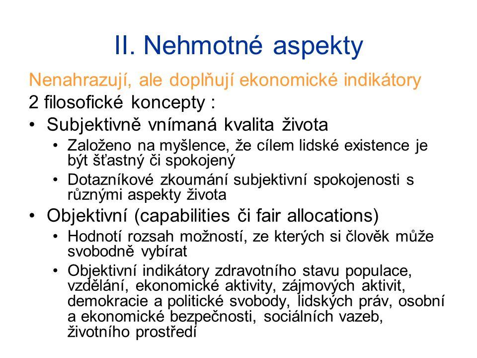 II. Nehmotné aspekty Nenahrazují, ale doplňují ekonomické indikátory 2 filosofické koncepty : Subjektivně vnímaná kvalita života Založeno na myšlence,