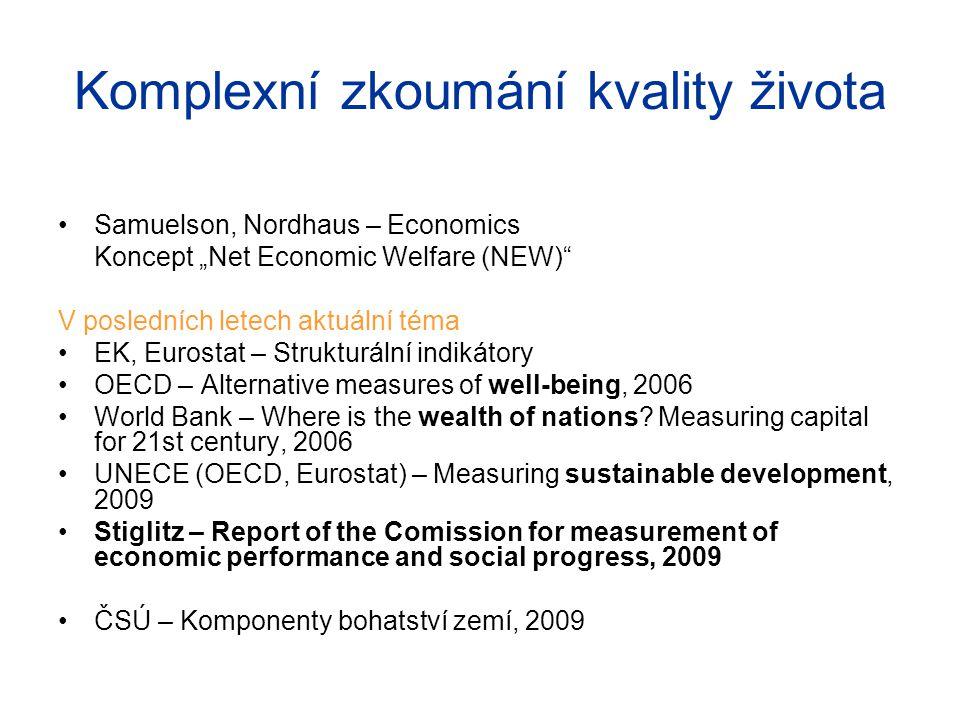"""Komplexní zkoumání kvality života Samuelson, Nordhaus – Economics Koncept """"Net Economic Welfare (NEW)"""" V posledních letech aktuální téma EK, Eurostat"""