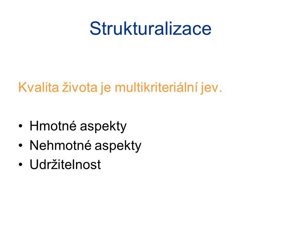 Strukturalizace Kvalita života je multikriteriální jev.