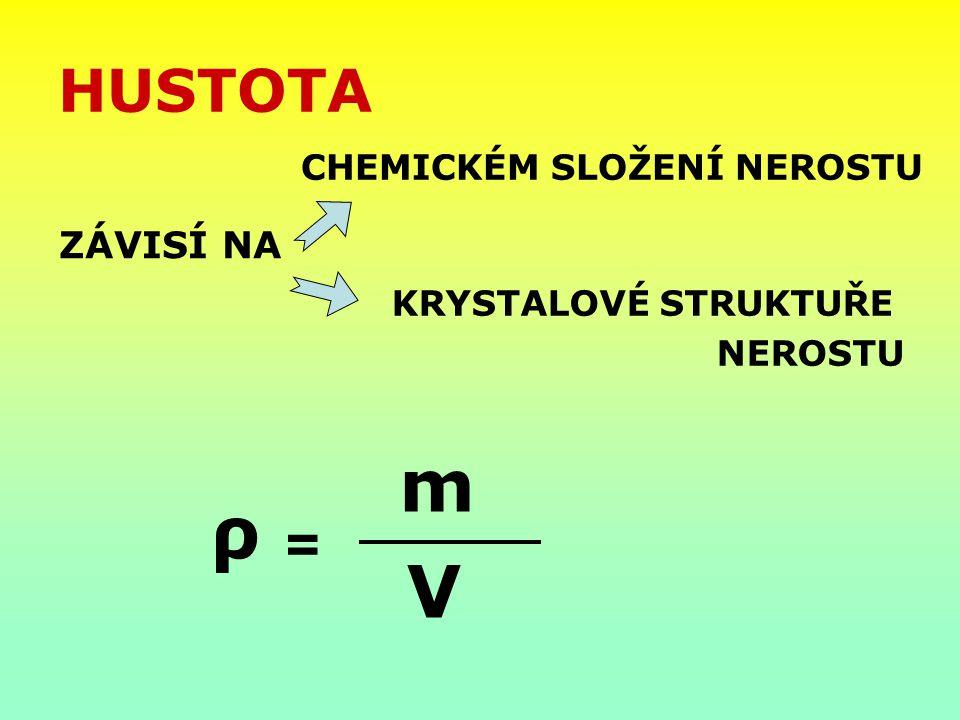 HUSTOTA ZÁVISÍ NA CHEMICKÉM SLOŽENÍ NEROSTU KRYSTALOVÉ STRUKTUŘE NEROSTU ρ = m V