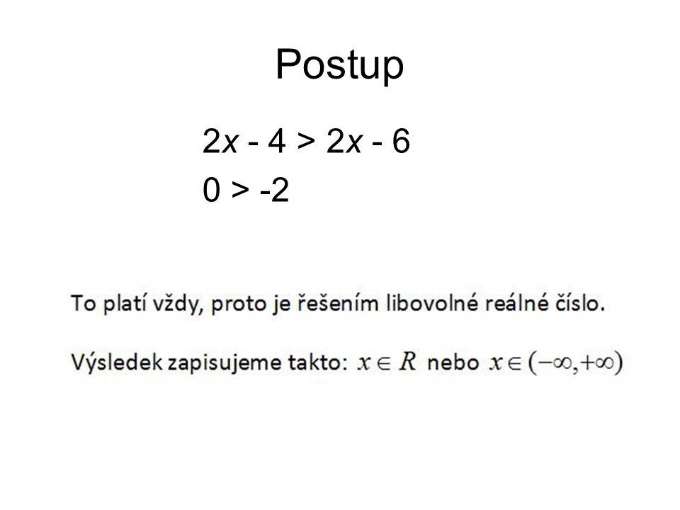 Postup 2x - 4 > 2x - 6 0 > -2