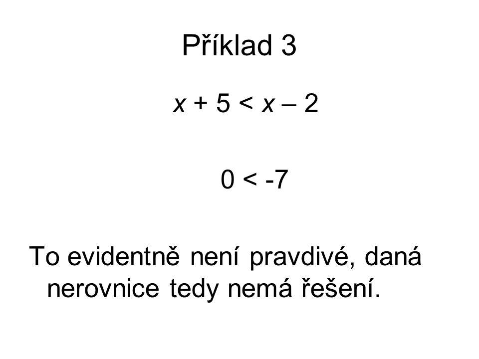 Příklad 3 x + 5 < x – 2 0 < -7 To evidentně není pravdivé, daná nerovnice tedy nemá řešení.
