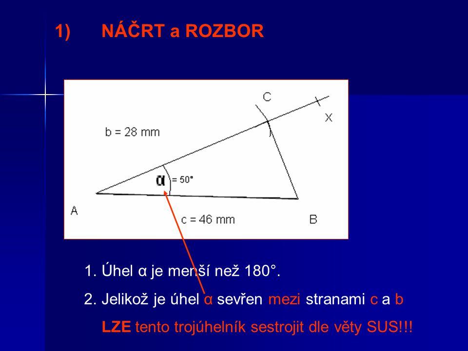 1)NÁČRT a ROZBOR 1.Úhel α je menší než 180°.